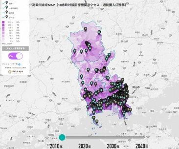 高梁川未来MAP(医療機関アクセス:通院圏人口推移)